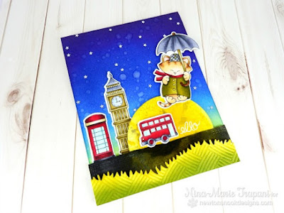 London card by Nina-Marie Trapani | Newton Dreams of London stamp set by Newton's Nook Designs #newtonsnook