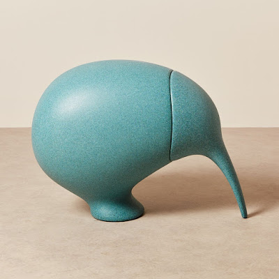 turquoise kiwi bird, with removable head (making it a storage container)
