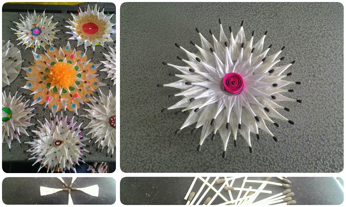 Flower Making Idea From Plastic Paper Matchsticks By Crazzy Craft
