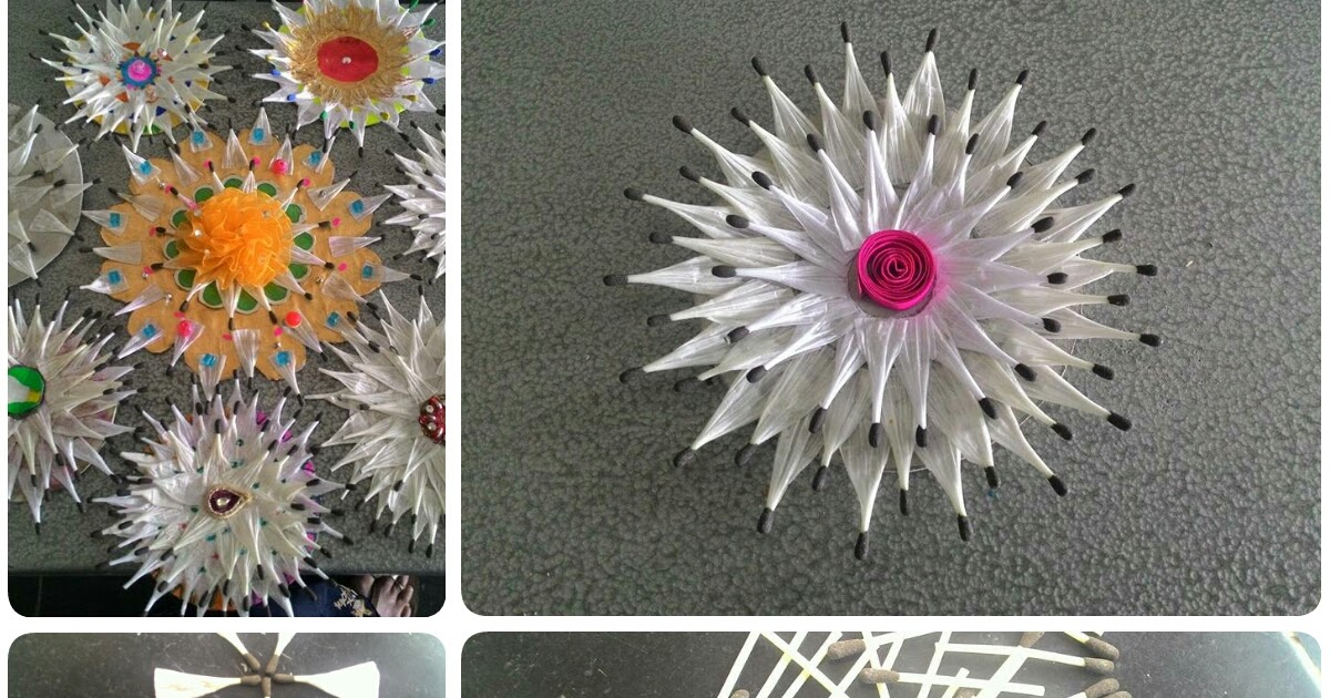 Flower Making Idea From Plastic Paper Matchsticks Crazzy