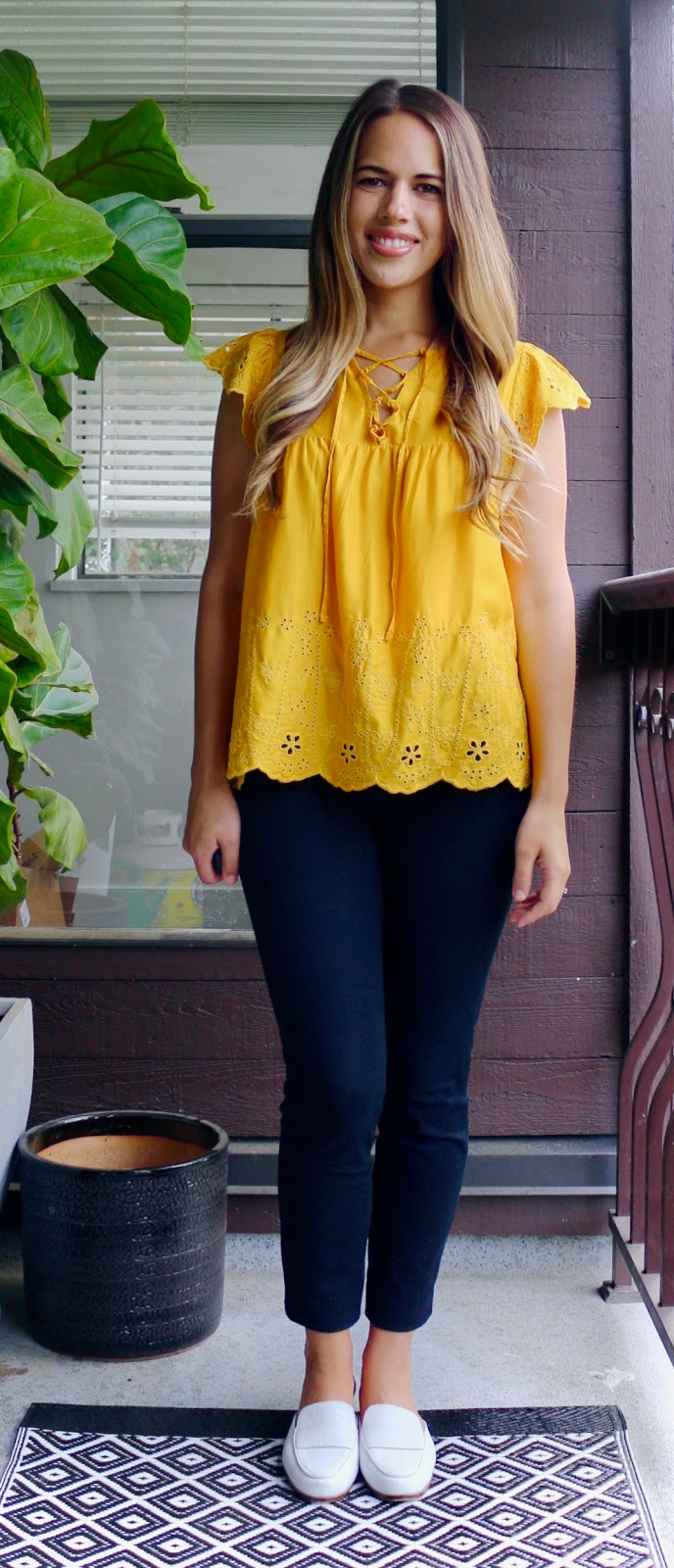 Jules in Flats - Yellow Eyelet Top