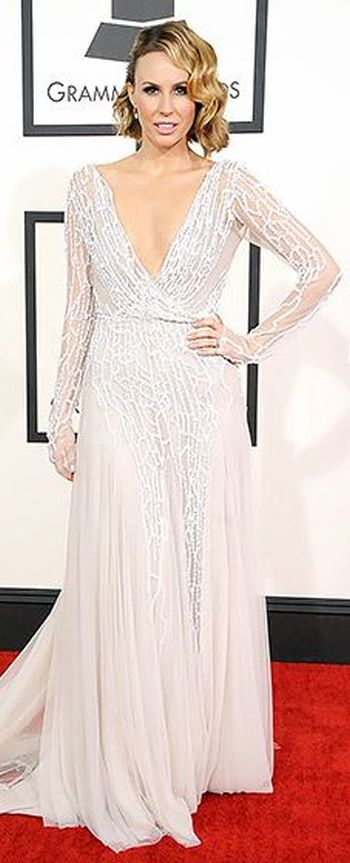 Keltie Knight in a white Paolo Sebastian gown at the Grammys 2014