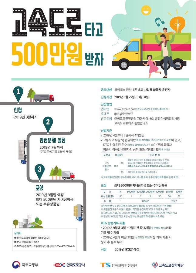 모범 화물운전자 150명 선발 및 포상(장학금 100~500만원, 주유권 20~50만원)