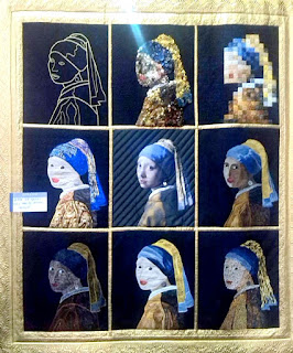 Craft fair impression: vermeer girl with pearl earring in different styles quilt