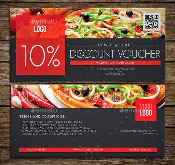 Restaurant Gift Certificate Template For Discount - Lunch Voucher Template