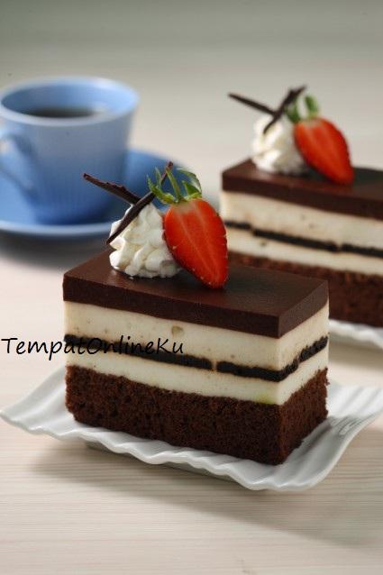 puding cake coklat lapis vanilla