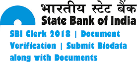 SBI Clerk 2018 Document Verification | Submit Biodata along with Documents
