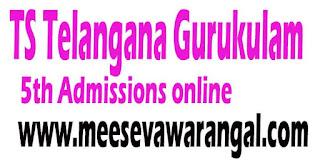 TS Telangana Gurukulam 5th Admissions 2016 online application