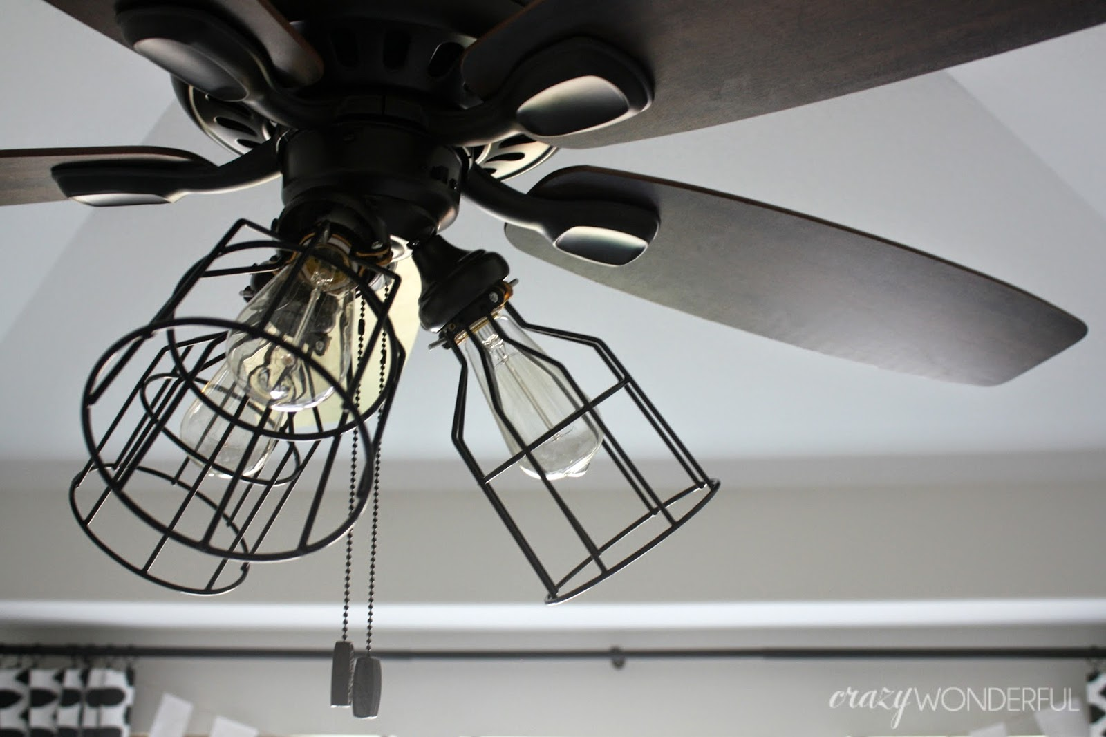 DIY cage light ceiling fan - Crazy Wonderful
