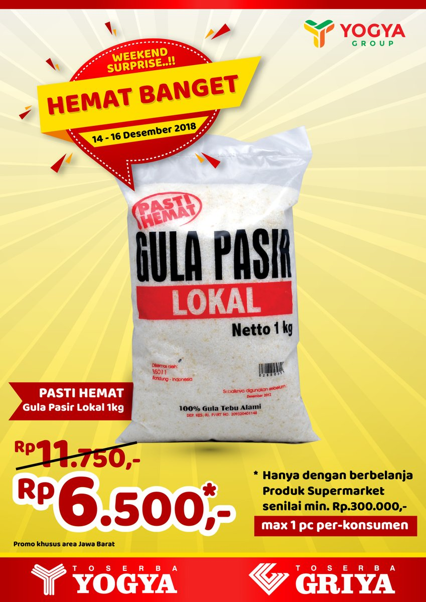 Yogya - Promo Hemat Banget Gula Pasir 6500 / 1 KG (s.d 16 Des 2018)