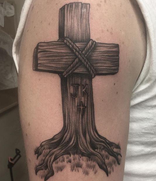 wooden cross tattoos