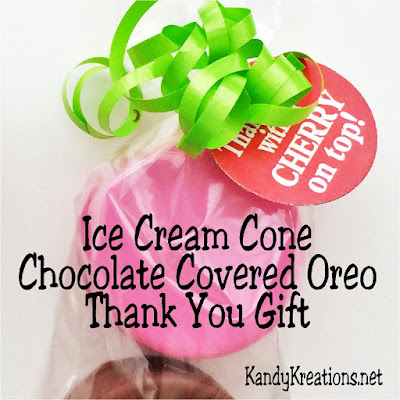 Be cool this summer with a sweet thank you for everyone on your list.  These chocolate covered oreos are a yummy treat and packaged oh so cute to look like a double scoop of Ice Cream on a cone.  Such a fun gift to both give and receive.