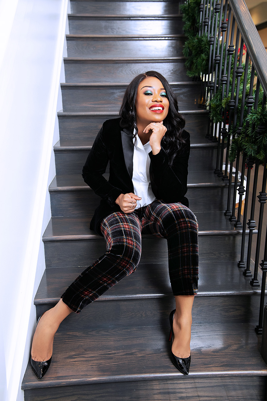 holiday style, plaid and velvet,