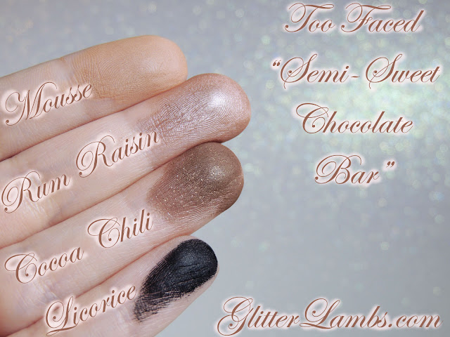 Mousse, Rum Raisin, Cocoa Chili, Licorice-Swatches on my fingers