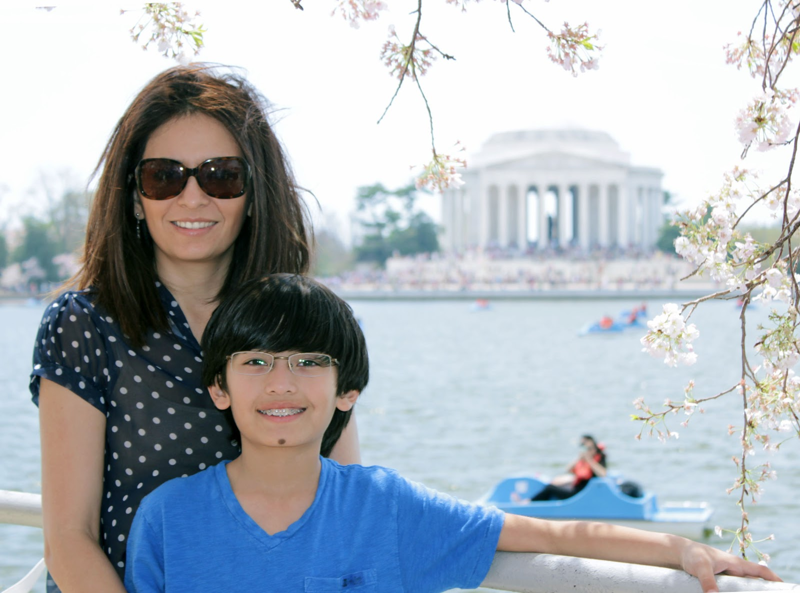 Cristina Garay and son during Cherry blossom festival DC