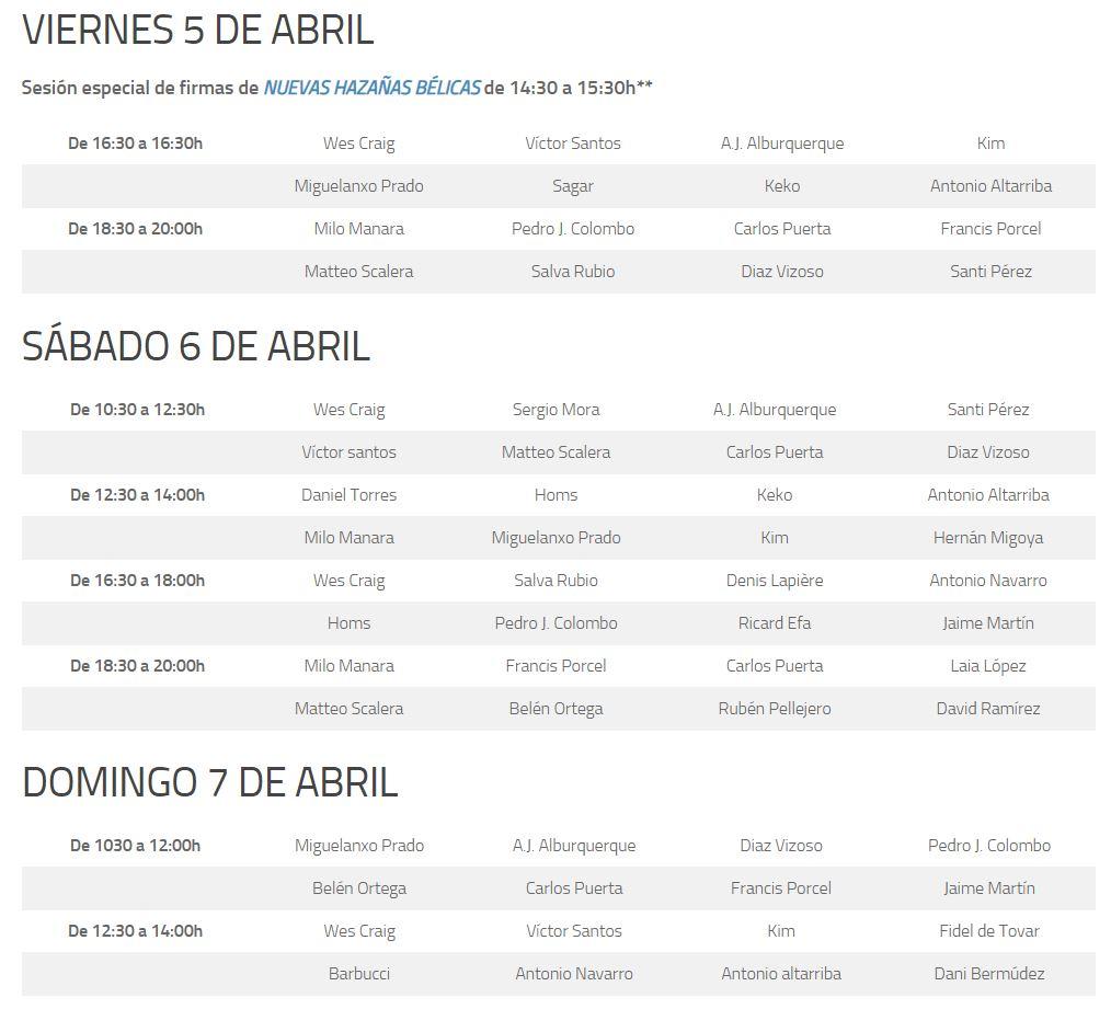 Horario de firmas de CÓMIC BARCELONA 2019