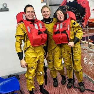 Chris, Mel and Carol undertaking survival at sea training in readiness for their ORCHESTRA cruises next year.