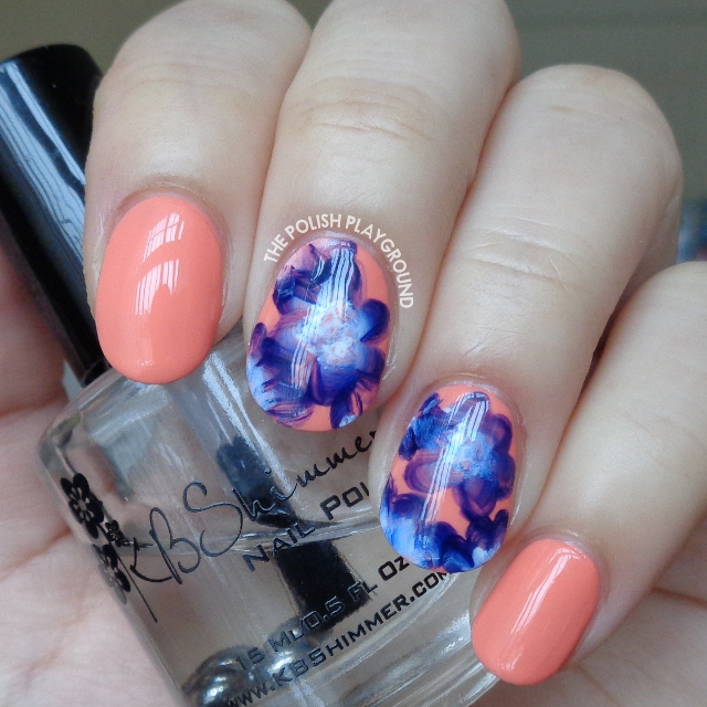 Purple and White One Stroke Inspired Floral Nail Art