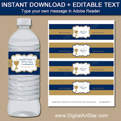 1st Holy Communion water bottle labels in navy and gold for a boy's first Holy Communion