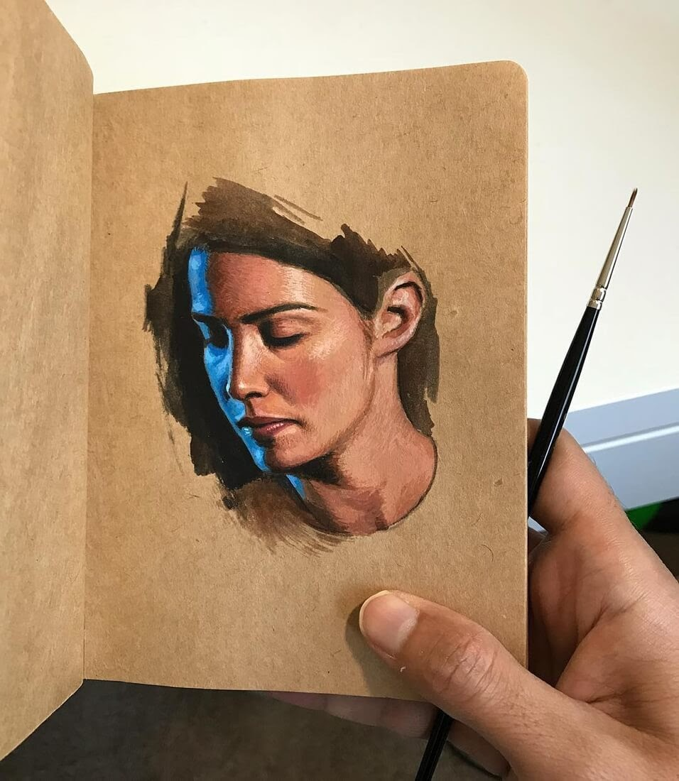 03-Raoof-Haghighi-Gouache-Acrylic-and-Watercolour-Paintings-on-a-Sketchbook-www-designstack-co