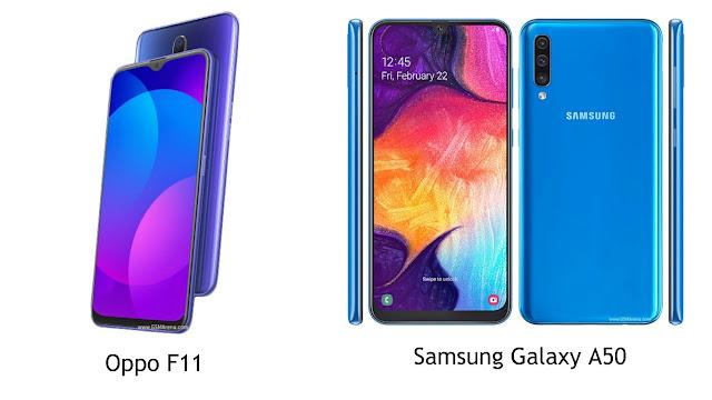 Perbandingan Spesifikasi Oppo F11 dengan Samsung Galaxy A50