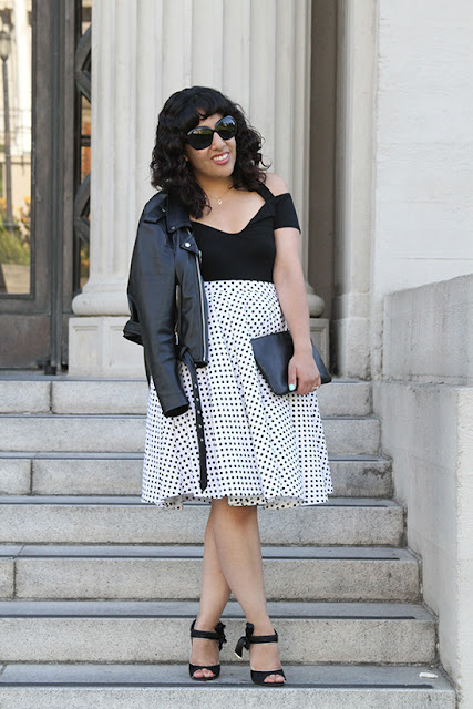 Black Tobi Bodysuit and KTR Collection Polka Dot Skirt Outfit