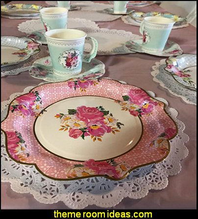 Truly Scrumptious Vintage Floral Disposable Tea Cups with Handles and Saucers for a Tea Party or Birthday