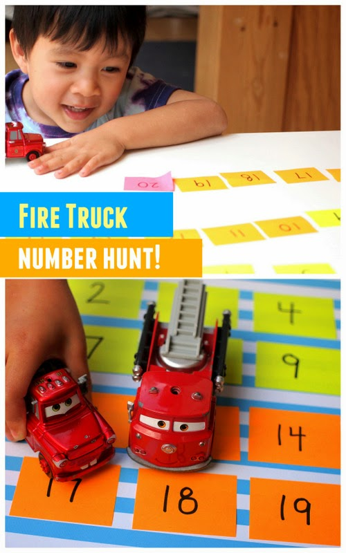 Easy kids math activity- find numbers... using fire trucks and emergency vehicles!