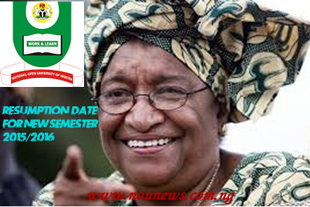 official resumption date for noun student for 2015 2016