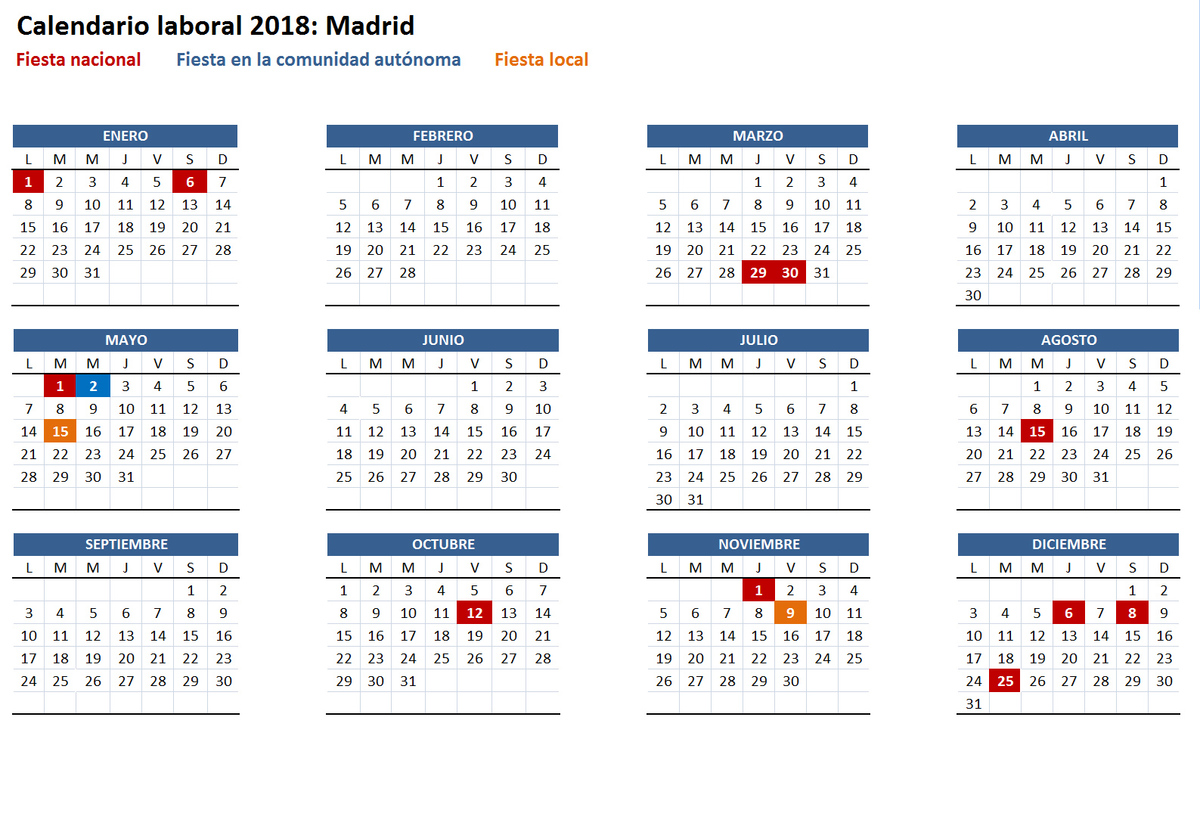 Calendario laboral 2018 de la comunidad de madrid san for Calendario eventos madrid