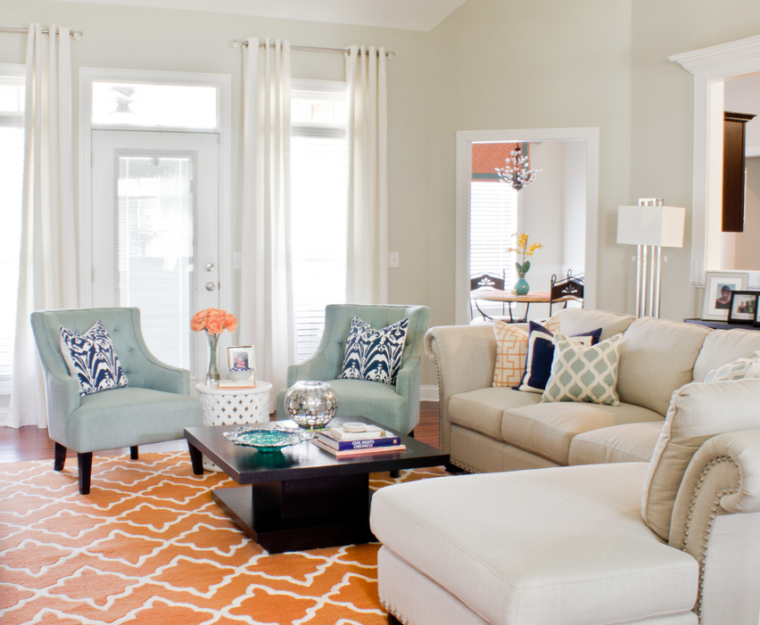 Orange and Mineral Blue Living Room Design