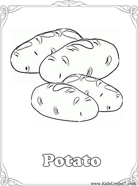 Kids Under 7 Vegetables Coloring Pages - Colour-in-pictures-for-kids