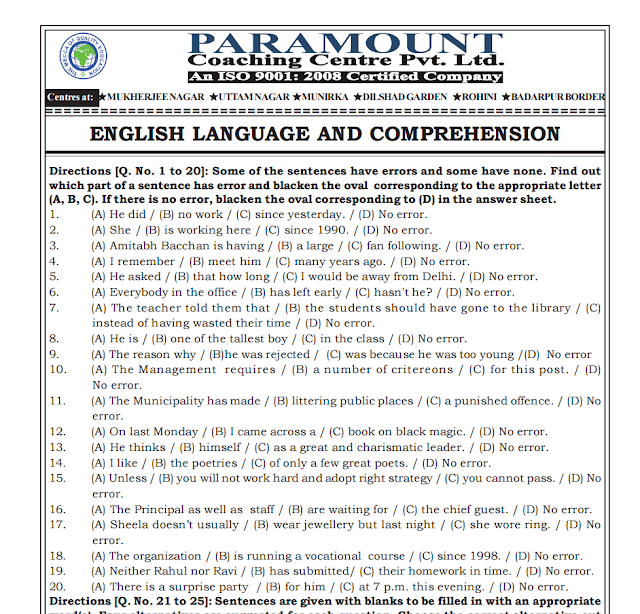Paramount Coaching Classes SSC CGL Tier-2 Questions Papers (Maths + English) in PDF