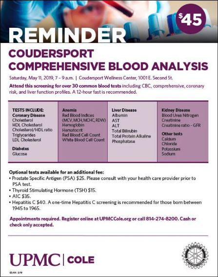 5-11 Comprehensive Blood Analysis, Coudersport