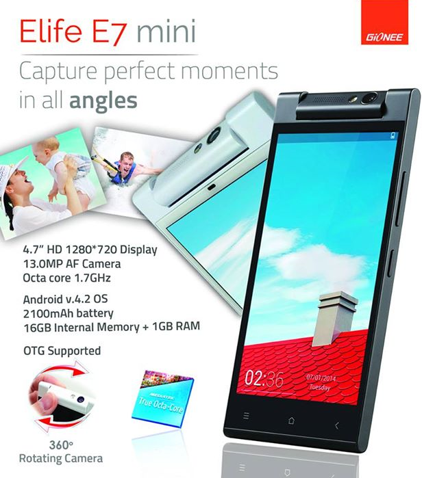Gionee Elife E7 mini: Specs, Price and Availability