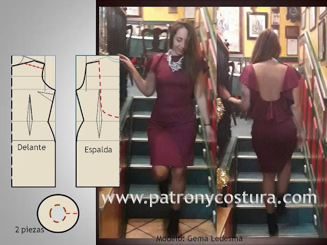 www.patronycostura.com/Vestido canesú, espalda libre con volante.Tema 198
