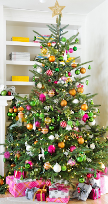 Raspberry and Yellow Christmas Tree