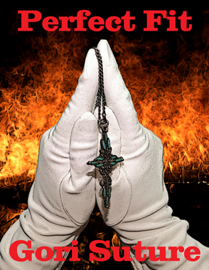white gloved hands posed as a church steeple with a crucifix necklace hanging from the fingers in front of fire