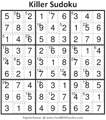 Answer of Killer Sudoku Puzzle (Fun With Sudoku #384)