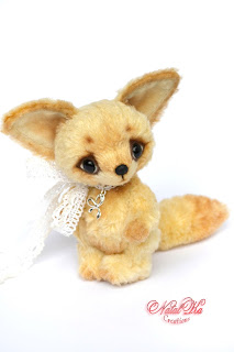 Artist teddy fox, teddy fox ooak, fennec fox, teddies with charm, handmade fox, artist teddy bear, NatalKa Creations, Teddys, Fennek Fuchs, Künstlerteddys, Künstler Fuchs, Teddy Fuchs