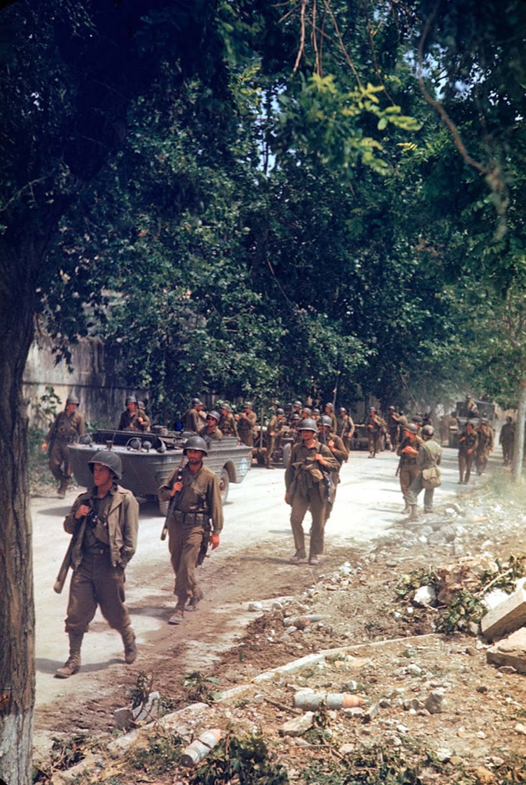 American soldiers marched up the Appian Way during the drive towards Rome in World War II.