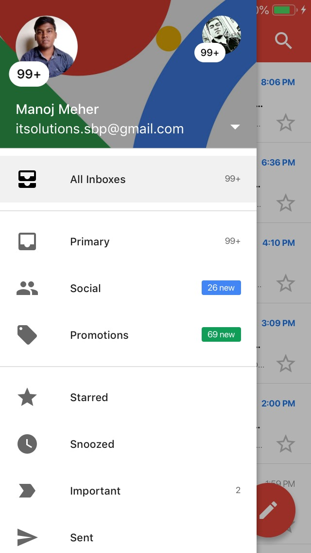 Unified inbox in ios allows to view multiple inbox in gmail