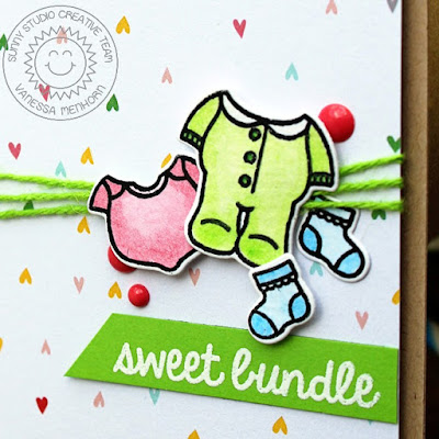 Sunny Studio Stamps: Baby Bear Sweet Bundle Card by Vanessa Menhorn.