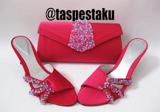 Handmade Tas Pesta dan Sandal Pesta Mewah Pink Fanta Payet Biru