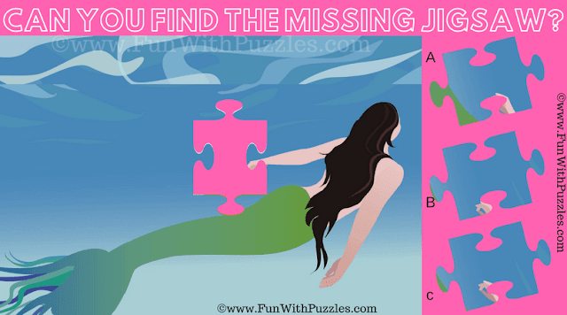 It is Jigsaw Puzzle in which one has to find the missing Jigsaw Piece from the Puzzle image of Lovely Mermaid
