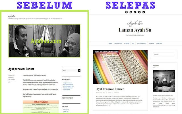 Blog Make Over Ayahsu.com Sebelum Selepas