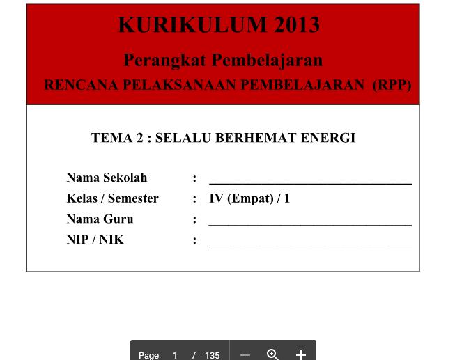 RPP Kurikulum 2013 SD Kelas 4 Tema 2 Selalu Berhemat Energi