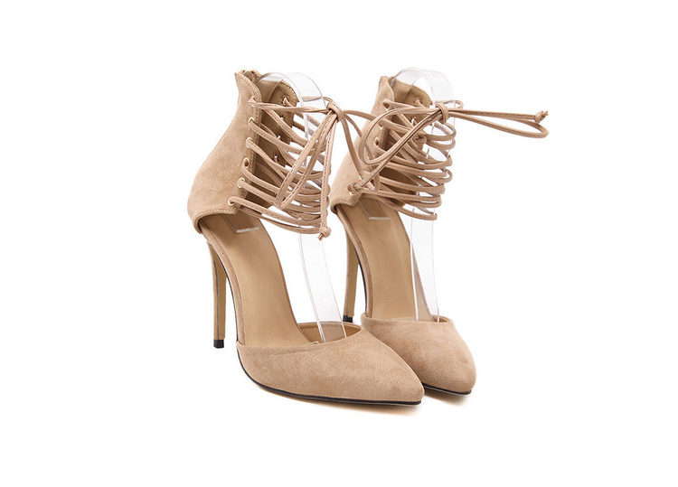 Nude Back Zipper High Stiletto Heel Lace Up Pumps