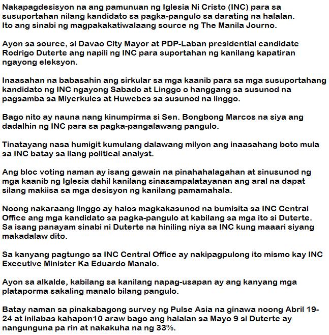 Report: Iglesia ni Cristo chooses Duterte