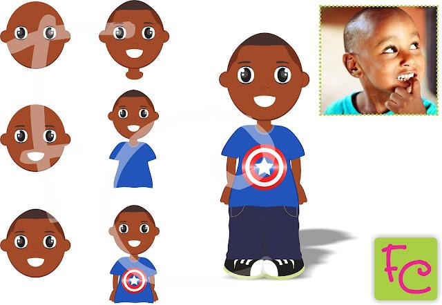 Cartoon Aniversariante - Mascote - Capitão América